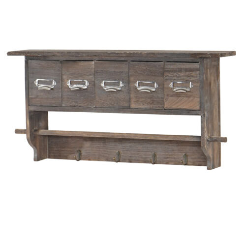 shabby chic vintage brown Wardrobe coat hanger wall shelf with 5 drawers