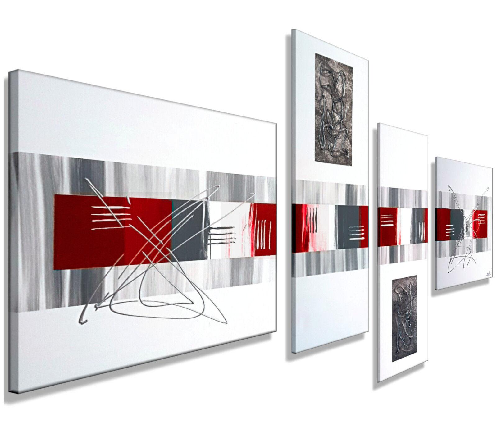 Mk1 peinture Art Image Toile abstrait tableau art peinture Mk1 modern images Gris Rouge XXL c3ba2b