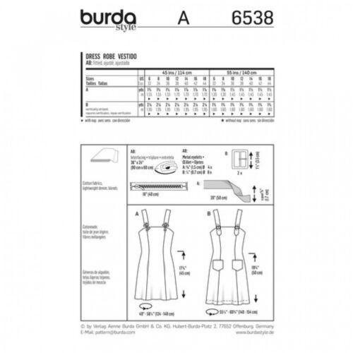 Burda Damas fácil patrón de costura 6538 vestidos con tiras Burda - 6538