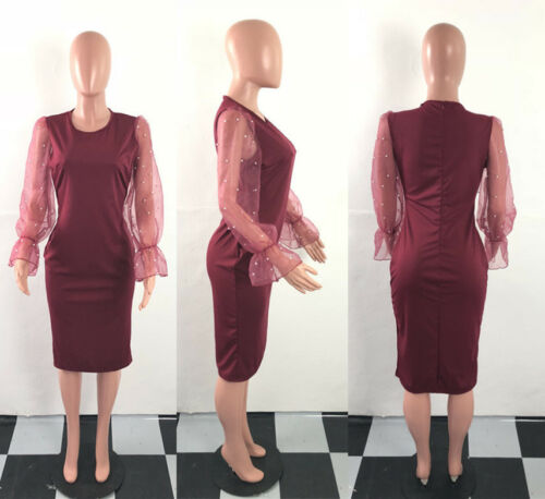 Women/'s Beaded Organza Flare Sleeve Solid Bodycon Dress Party Cocktail Casual