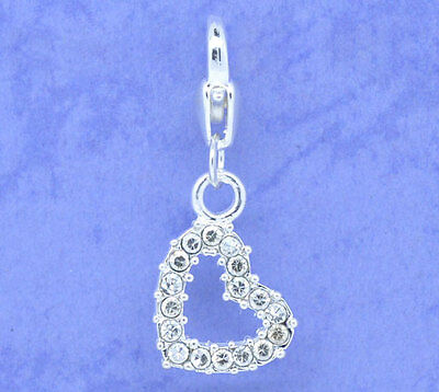 Silver Clear Heart Clip On Charms Bead For Charm Bracelets