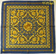 """VERSACE blue BAROQUE Scroll BOUQUET center Silk Twill 35"""" Large scarf NEW Authen"""