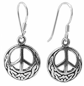 Pair-of-CELTIC-PEACE-SIGN-EARRINGS-925-Sterling-SILVER-28mm-Drop-13mm-CND