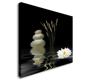 Image Is Loading Zen Grey Spa Stones Lotus Lily Canvas Wall