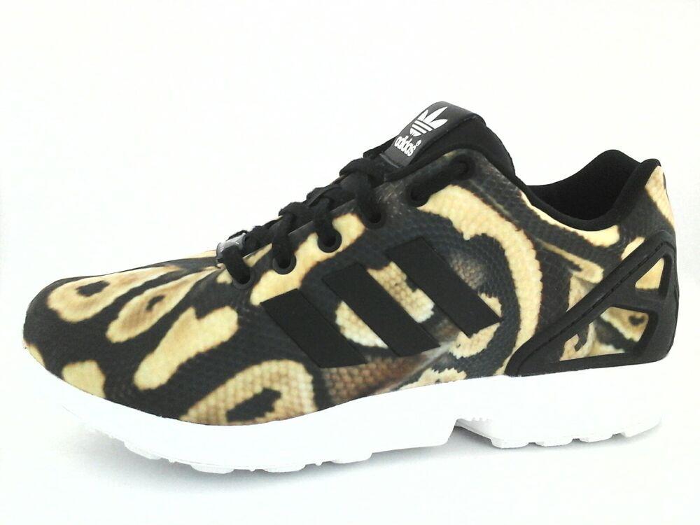 ADIDAS Sneakers Python SNAKE ZX Flux chaussures S77310 Torsion noir Tan Femme New