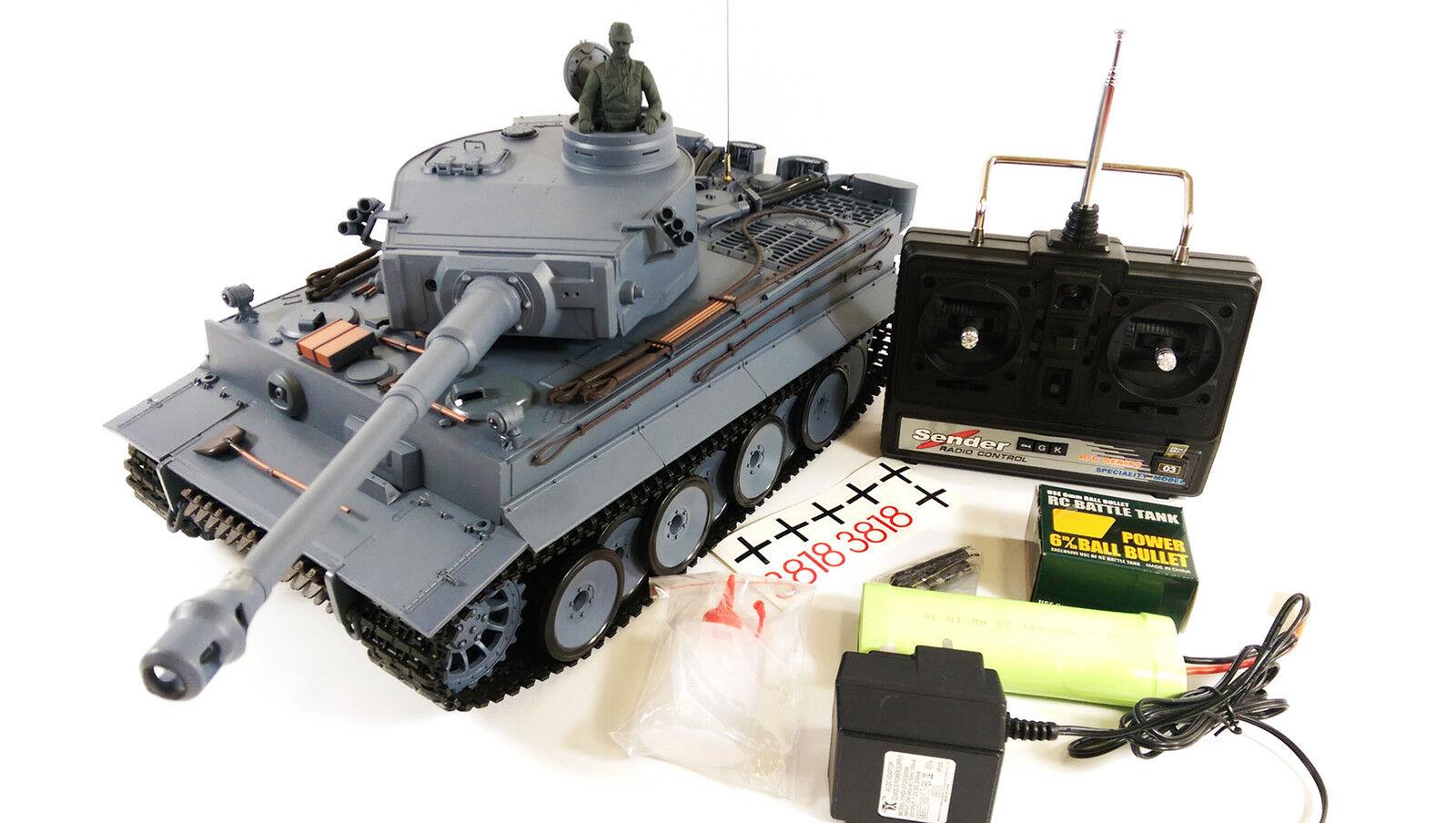 Militar 1 16 Heng Long Alemán Tanque Tiger Humo Sonido Radiocontrol Del Ejército