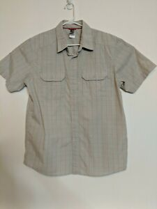 The-North-Face-Men-039-s-Large-Short-Sleeve-Button-Down-Hiking-Plaid-Shirt