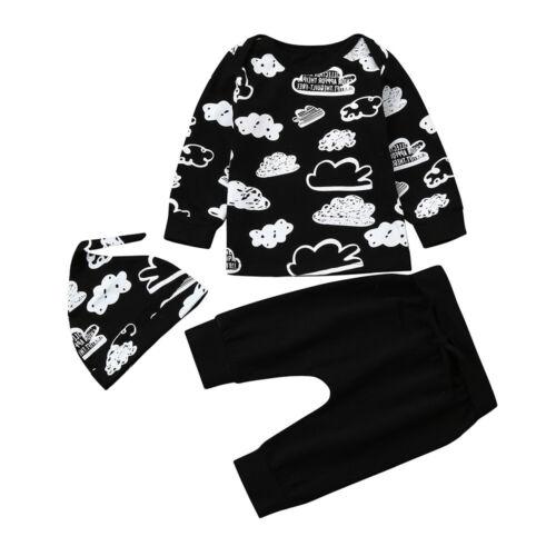 Newborn Unisex Baby Girl Boy Cloud Print T-Shirt Tops+Pants Outfits Clothes Sets