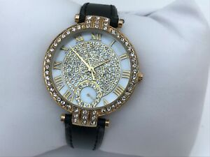 Catherine-Malandrino-Women-Watch-Crystal-Accents-Gold-Tone-Black-Bank-Water-Rest