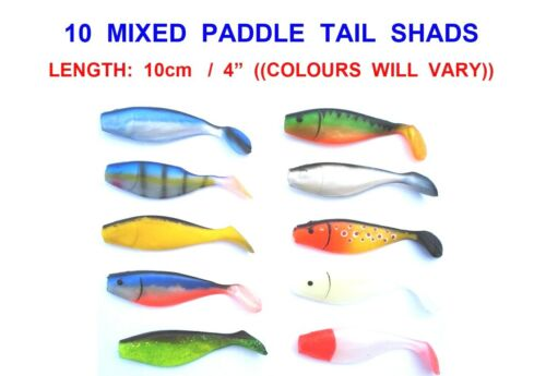 10 MIXED 10cm SHADS FOR SEA BOAT FISHING JIG HEAD WEEDLESS HOOK COD LURES PIKE