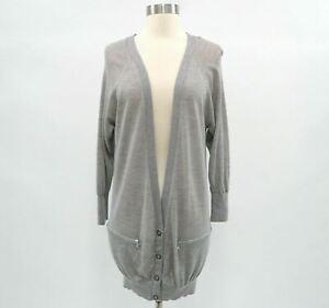 Whistles-Cardigan-Sweater-Womens-Merino-Wool-S-Small-Gray-Zipper-Pockets