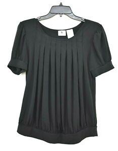 Worthington-Petite-Womens-Black-Scoop-Neck-Short-Sleeve-Square-Pleat-Blouse-M
