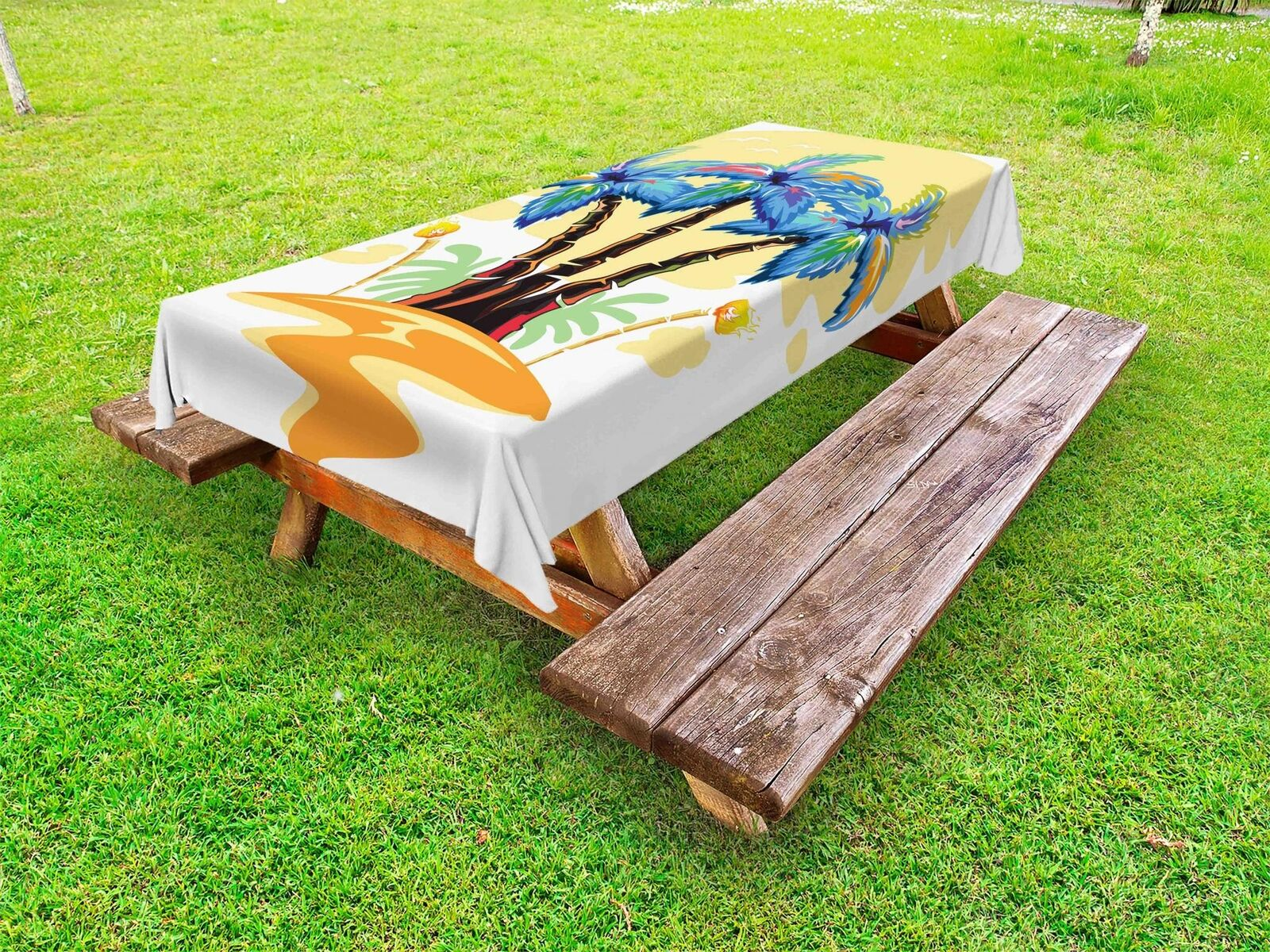 Exotic Palm Tree Outdoor Picnic Tablecloth Tablecloth Tablecloth in 3 Größes Washable Waterproof a57ed5