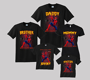 Image Is Loading Spiderman Birthday Shirt Personalized Custom T Family