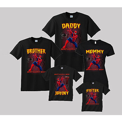 db5d12a9a Spiderman Birthday Shirt Personalized Custom t-Shirt Family Spider-Man Black