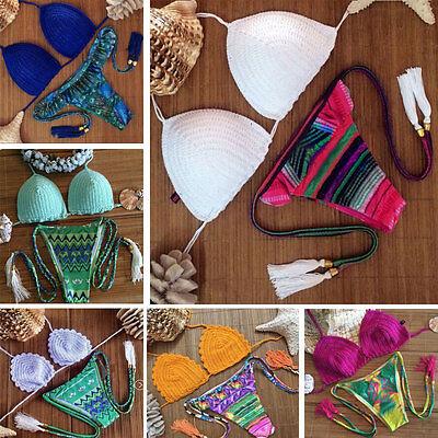Swimwear Crochet Knit Bikini Swimsuit Bathing Suit Padded Bikini Brazil Triangle