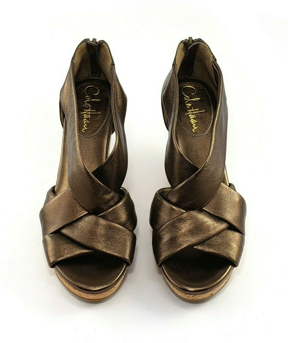 Cole Haan Delphina II Wedge Sandals Bronze Leather Leather Leather Zip Back Dimensione 6 M NEW 1f5f54