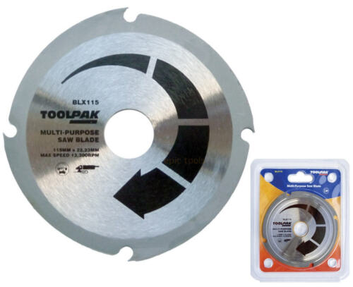 "TOOLPAK 115mm 4-1//2/"" Wood,MDF,Plastic,Fibreglass,Angle Grinder Blade//Disc,BLX115"