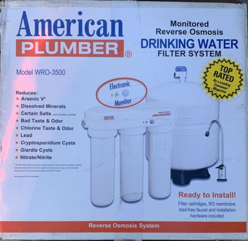 see pics. AMERICAN PLUMBER R//O WATER FILTER SYS #WRO3500 FOR HOME /& OFFICE