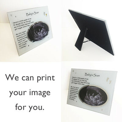 Baby Scan Unisex Pregnancy Celebration gift with verse Glass Photo Plaque Stand