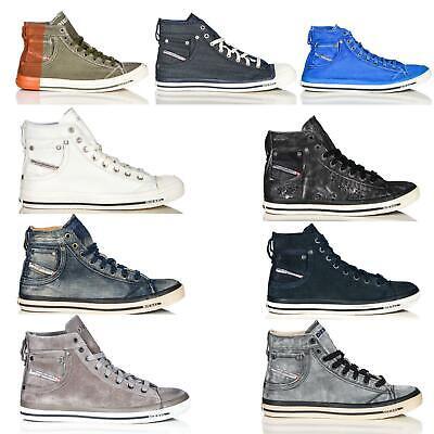 Diesel Exposure Damen High Top Sneaker Schuhe Leder Wildleder Jeans Optik NEU