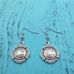 Fire-dept-Silver-earrings-women-Fashion-pendants-jewelry-handmade-ear-stud