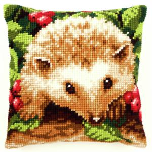 Hedgehog-Berries-Chunky-CrossStitch-Cushion-Kit-Printed-Tapestry-Canvas-Cushion