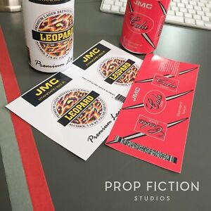 Red-Dwarf-Prop-Leopard-Premium-Lager-amp-JMC-Cola-Drinks-Can-Label-Set