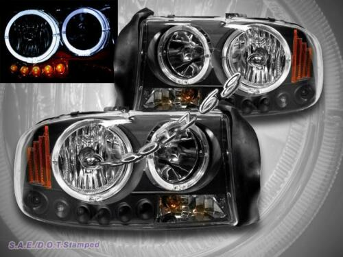 Dodge Dakota 97-04 Durango 98-03 Headlights Black Twin Halo LED