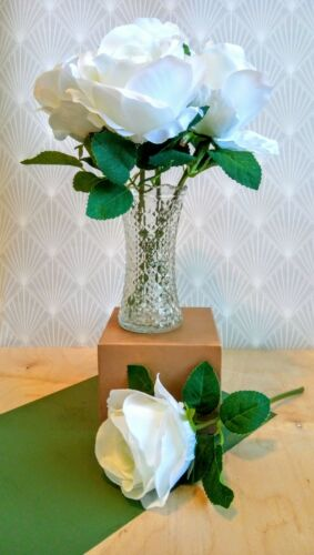 Artificial// Faux Silk Large White Roses// Flowers X 10 stems 30cm Tall.