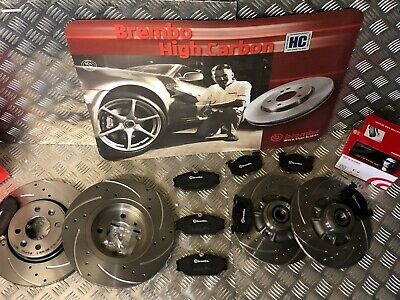 Renault Clio 2.0 172//182 01-05 Drilled Grooved Front Brake Discs Brembo Pads