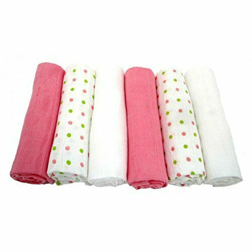 6 Pack Muslinz Premium Muslin Squares 100/% Cotton PINK//WHITE GREEN SPOTS