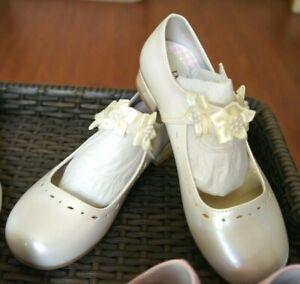 NIB #G312 Peanut Butter Flower Girls Dress Shoes Ivory Color US Sz 2/3/4/5/6