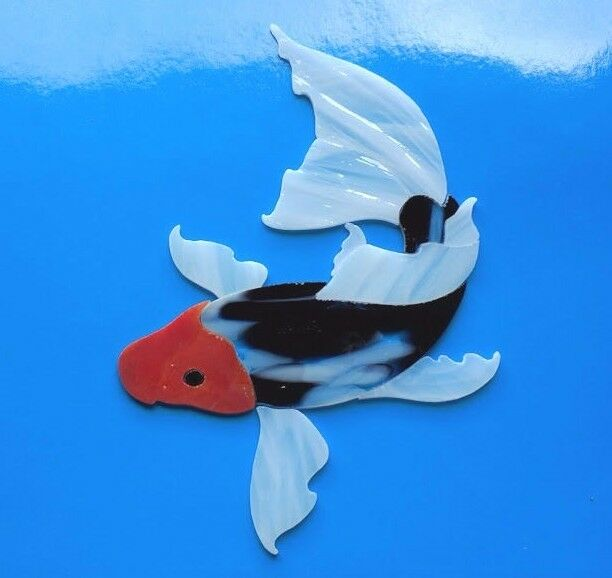 Koi fish pond pre cut mosaic stained glass supplies for Koi fish pool table