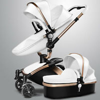 Baby Kids Stroller Faux Leather Carriage Infant Travel Folding Pram Pushchair
