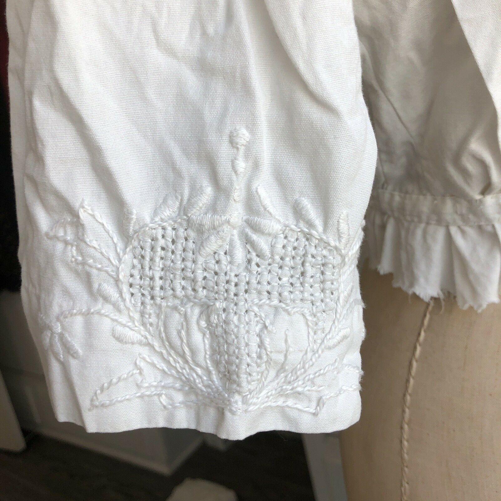 Antique White Embroidered Edwardian Bodice Blouse - image 4