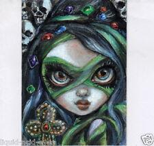 Aceo PRINT Halloween Mummy Skull zombie big eyes #101 art Liquid Acid Eyes
