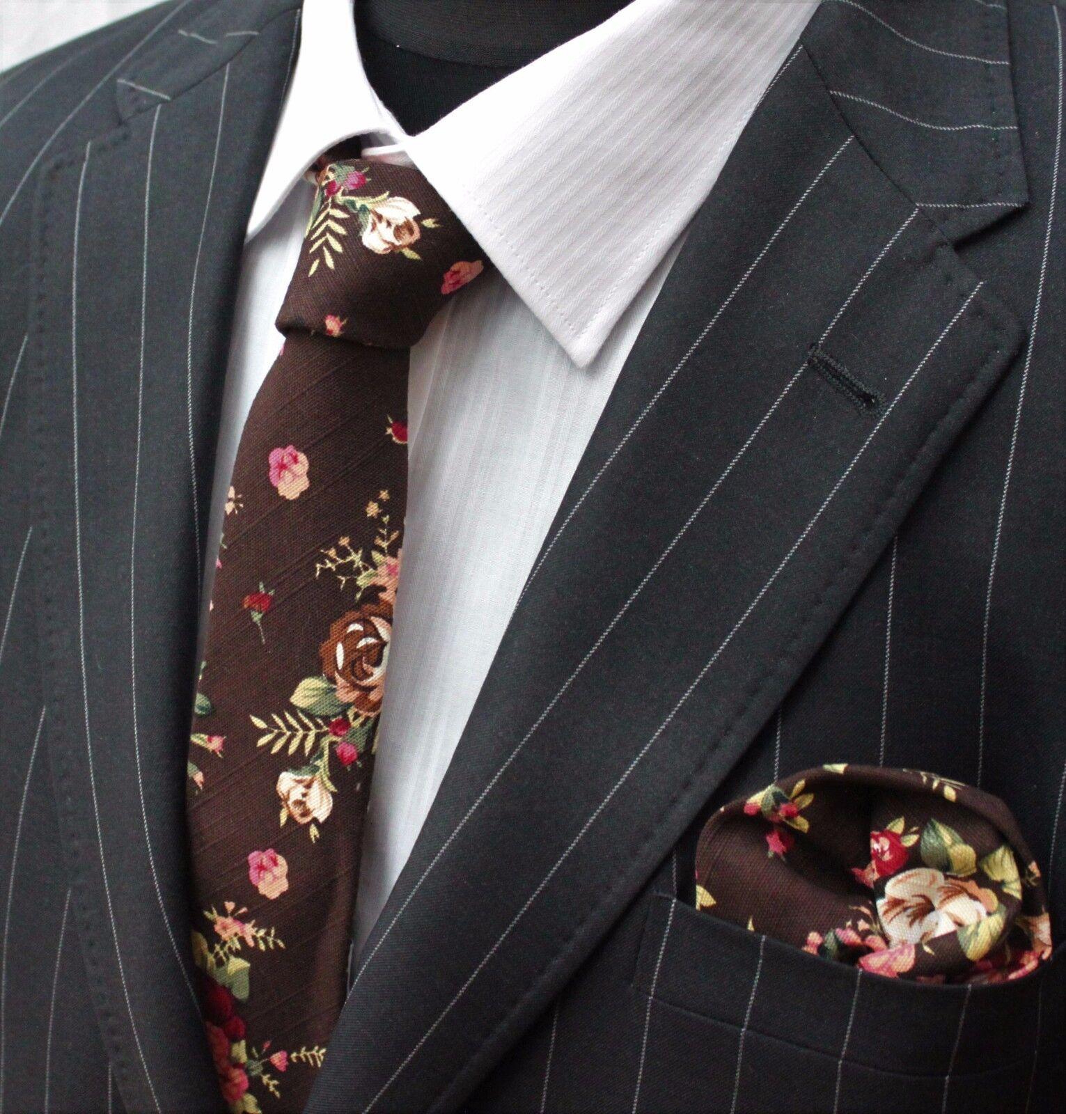 Men's Tie & Handkerchief Set Slim Dark Brown with Floral Quality Cotton MTB04