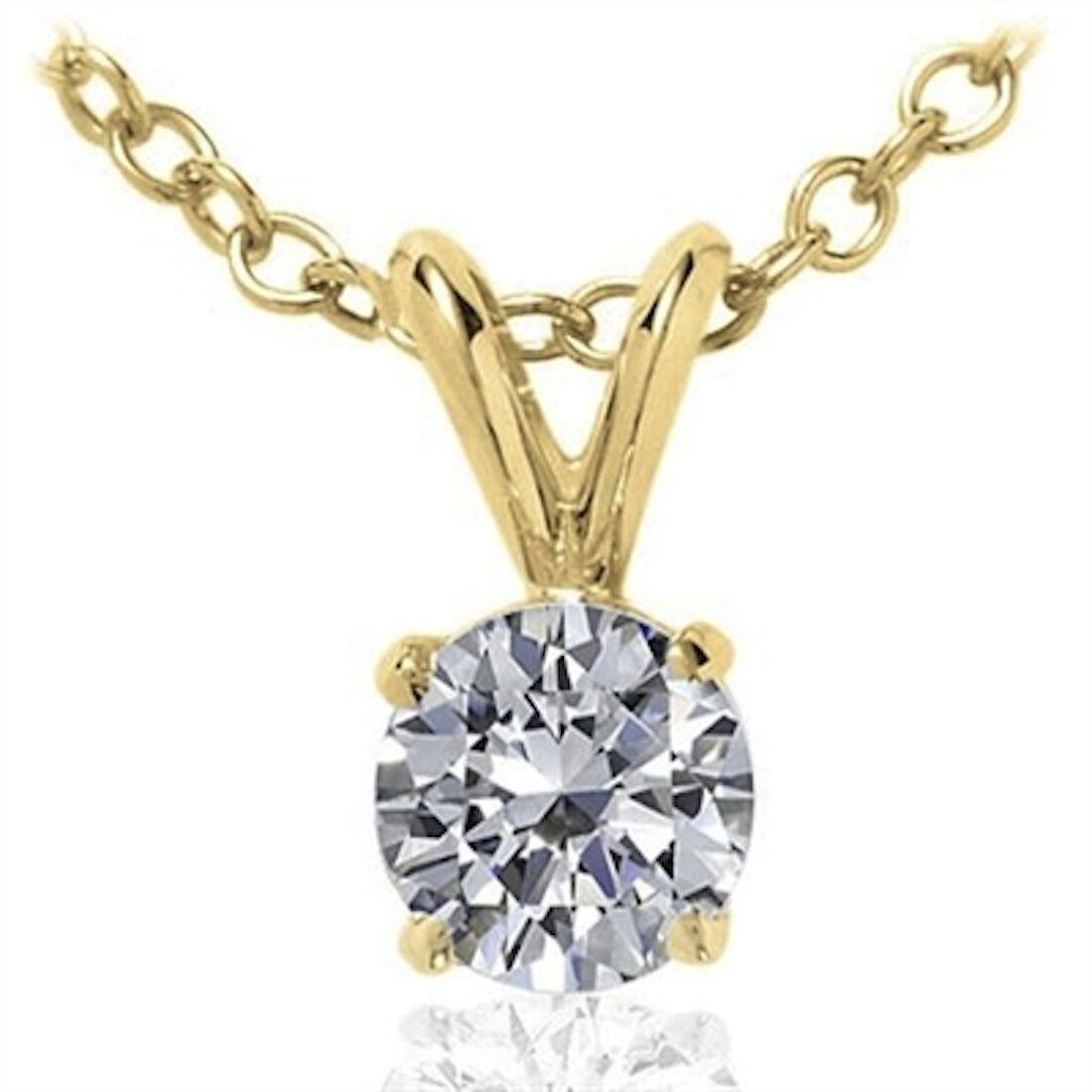 Round White Diamond Solitaire Pendant In 14K White Yellow gold