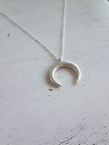 Double horn necklace pendant 925 sterling silver crescent moon image is loading double horn necklace pendant 925 sterling silver crescent aloadofball Gallery