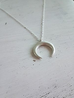 Silver Cresent Moon Necklace Silver Tusk Necklace Sterling Silver Double Horn Necklace Sterling Silver Satellite Chain Moon Necklace