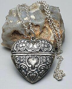 Jugendstil-Silber-Herz-Pillendose-Anhaenger-925-Silber-amp-835-Silberkette-A209