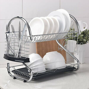 2-Tier Stainless Steel Dish Drying Rack Cup Drainer Strainer With Plastic Tray