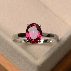 Natural-Certified-Handmade-925-Sterling-Silver-6-Ct-Ruby-Gemstone-Cluster-Ring
