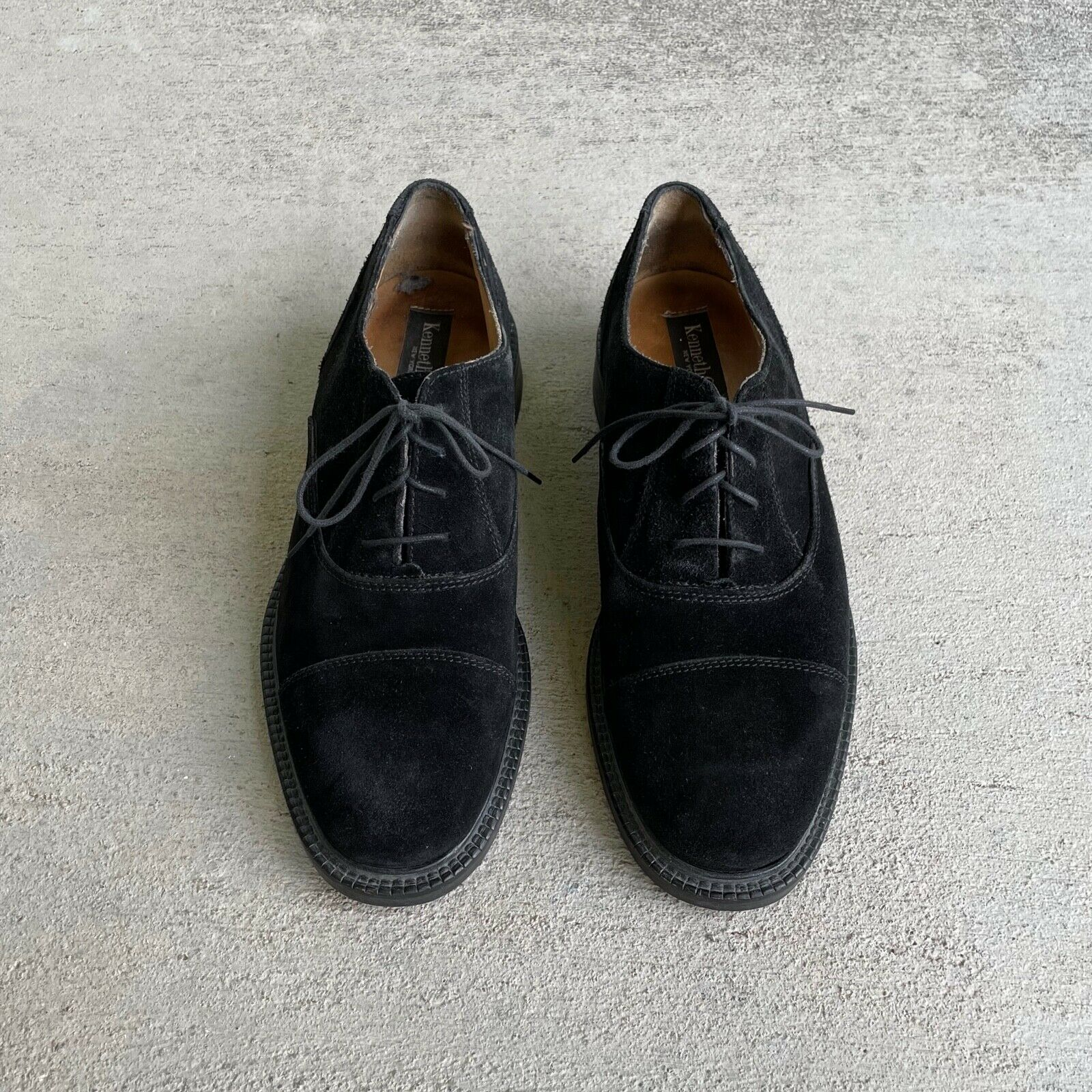 Vintage 90s Kenneth Cole Black Suede Cap Toe Derby Shoes Made in Italy Fits 9.5