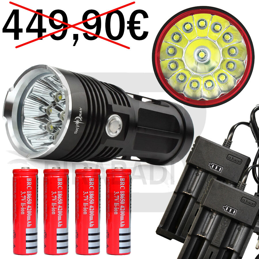 LAMPE TORCHE 14 LED 34000 LU Herren LED CHARGEUR FLASHLIGHT POLICE + 4 PILES + 2 CHARGEUR LED 16d79a