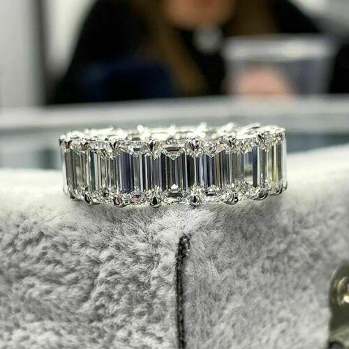 Details about  /8Ct Emerald-Cut Diamond Women Wedding Eternity Band Ring 14K White Gold Finish