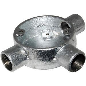 Details about  /Deta Galvanised Tee Box 20mm pack of 2 Steel Conduit Tubing