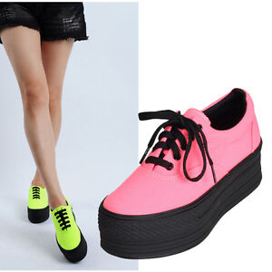 New Womens Ladies Low-Top Canvas Light Platform Sneakers Shoes ...
