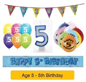 Image Is Loading Happy 5th Birthday AGE 5 Party Balloons Banners